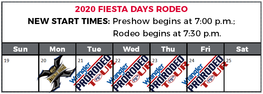 Rodeo Calendar 2020 Spanish Fork City