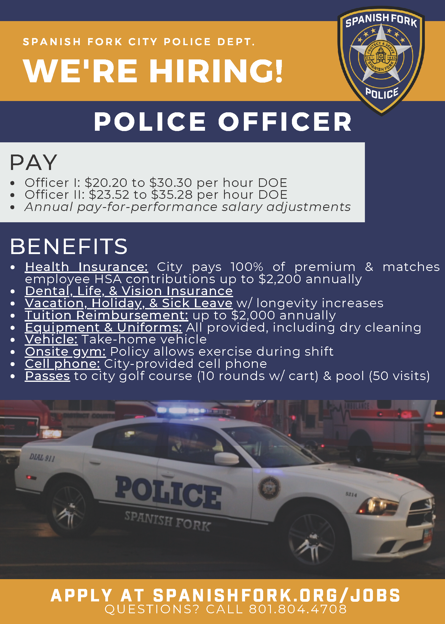 Patrol Officer hiring flyer with link to pdf